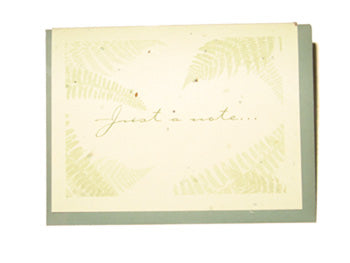 Grow A Note - Fern Just A Note Blank Cards - green envelopes - pack of 6 cards