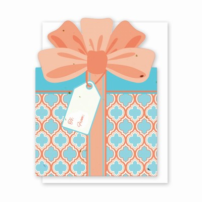 Grow A Note Gift Card Holder - Coral And Blue Gift Box Design