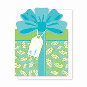 Grow A Note Gift Card Holder - Blue with Green Leaves Gift Box Design