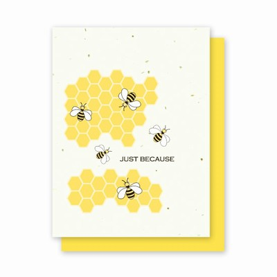 Grow A Note Just Bee-cause Blank Cards - yellow envelopes - pack of 4 cards