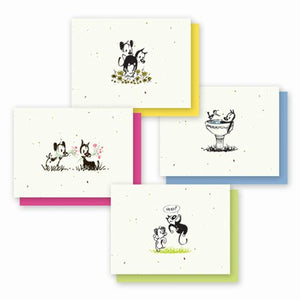 Grow A Note Just - Mutts with Flowers in Mouths Blank Cards - pink envelopes - pack of 4 cards