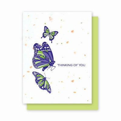 Grow A Note Just - Thinking of You Butterfly Blank Cards - green envelopes - pack of 4 cards