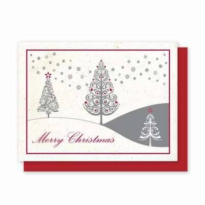 Hemp Holiday Cards: Merry Christmas Festive Trees - pack of 8 cards