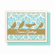 Hemp Holiday Cards: Damask Birds - Season's Greetings - pack of 8 cards