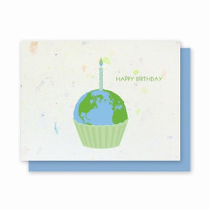 Earth Birthday Cards Made Out Of 100% Junk Mail - blue envelopes - pack of 4 cards