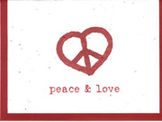 Grow A Note Peace & Love Cards - red envelopes - pack of 4 cards