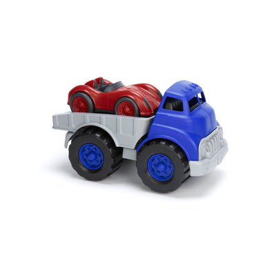 Green Toys Earth Friendly Flat Bed Truck With Red Racing Car