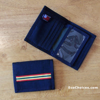 Hemp Bi Fold Wallet in Black with Rasta Trim