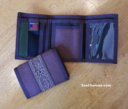 Hemp Trifold Wallet in Chocolate Brown With Tattoo Trim