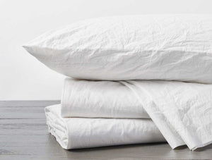 Organic Crinkled Percale Sheets - Twin, Full, Queen, Cal King, Eastern King, and Pillowcases Sets