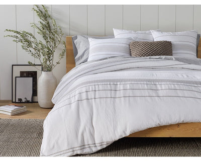 Rippled Stripe Organic Duvet Cover - Full/Queen, King & Shams