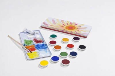 Stockmar Opaque Colors 12 Colors includes Opaque White, Brush and Mixing Palette