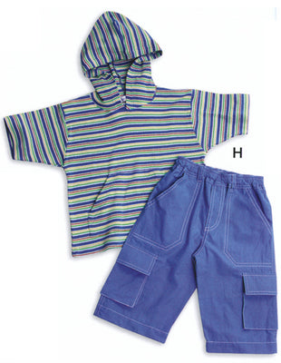 Organic Cotton Hooded Stripe Tee with Poplin Short Set (Sizes: 2T or 4T)