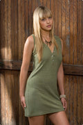 Hemp & Tencel Tank Dress in Leaf Green - XS, L