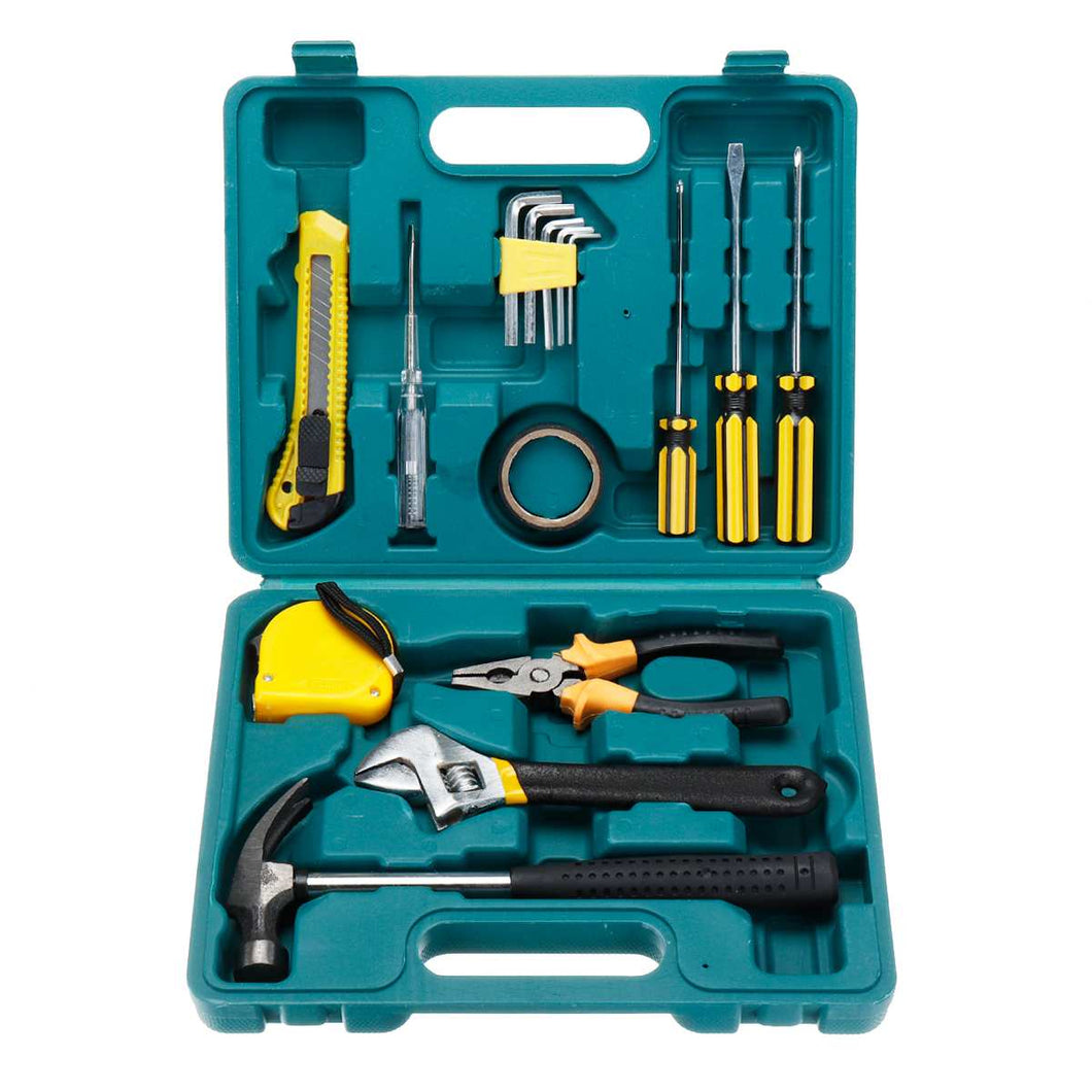 16 in 1 Hand Tool Set Household Repair Hand Tool Kit with Plastic Toolbox Storage Case Home Repair Tool Set Hand Tools