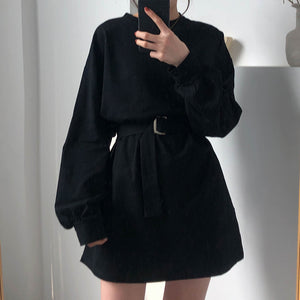 7 colors long sleeve dress women spring autumn korean style dress ladies solid color loose t shirt dress women with belt (X218)