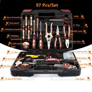 97pcs Key Tools Household Tool Set for Electrical Repair Wrench Pliers Hammer Screwdriver Saw Universal Hand Tools A Set of Keys