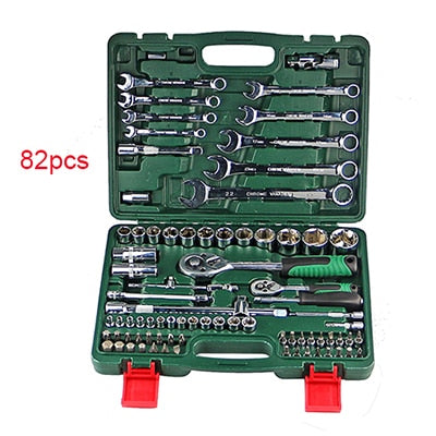 A Set Of Keys For Car Repair Ratchet Wrench Set Universal Socket Head Combination Torque Gear Spanner Collection Hand Tool Kit