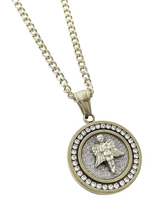 Swarovski Elements My Angel Circular Pendant Necklace in 14K Gold Plating - Two Options Available