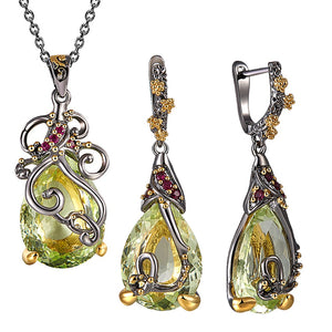 Beautiful Neaklace/Earrings 2pc Set Big Tea drop Olivine Stone Jewelry Sets Color Crystal Party Jewellery for Women