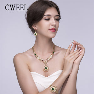 CWEEL Wedding  Jewelry Set For Women Ethiopian Bridal Indian Costume Gold Color Luxury Dubai African Jewelry Vintage Bijoux