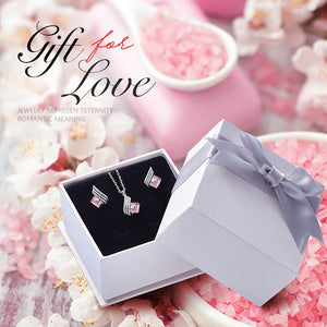 Cdyle Minimalist Dainty Pink Swarovski Crystal Pendant Necklace Earrings Set Wedding Bridal Jewelry Sets for Women Silver 925