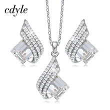 Load image into Gallery viewer, Cdyle Minimalist Dainty Pink Swarovski Crystal Pendant Necklace Earrings Set Wedding Bridal Jewelry Sets for Women Silver 925