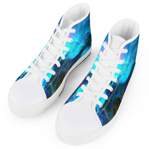 Dream Waves - White High Top Canvas Shoes