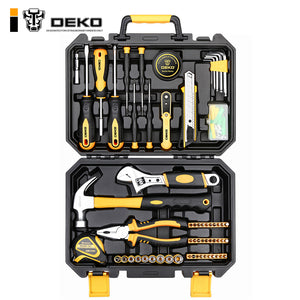 DEKO TZ100 Socket Wrench Tool Set Auto Repair Mixed Tool Combination Package Hand Tool Kit with Plastic Toolbox Storage Case