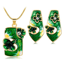 Load image into Gallery viewer, Dropping oil jewelry suit fashion personality color flower necklace earrings two sets of fashion jewelry