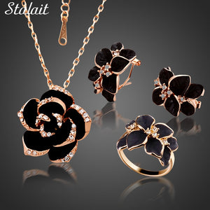 Fashion Rose Flower Enamel Jewelry Set Rose Gold Color Black Painting Bridal Jewelry Sets for Women Wedding 82606