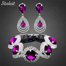 Load image into Gallery viewer, Fashion Wedding Bridal Jewelry Sets For Women Rhinestone Austrian Crystal Jewelry Set Bracelet Earrings Set Indian Accessories