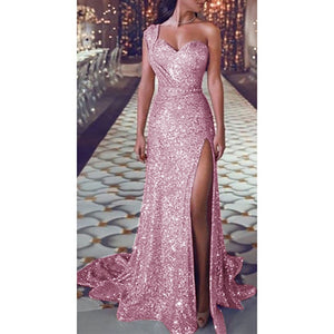 Fashion Women Dress Sequin Prom  Party Ladies Dresses Ball Gown Sexy Gold Evening V-Neck Solid Elegant Long Women Dress