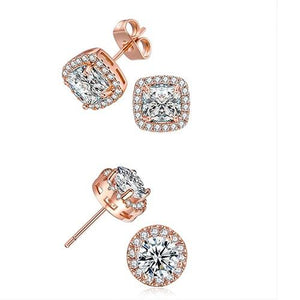 2 Pairs: Swarovski Elements Halo 18K Gold Plated Studs - 3 Finishes (Circle & Square Set)
