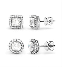 Load image into Gallery viewer, 2 Pairs: Swarovski Elements Halo 18K Gold Plated Studs - 3 Finishes (Circle & Square Set)