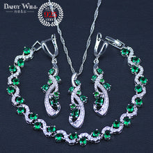 Load image into Gallery viewer, Green Blue Cubic Zirconia 925 Silver Jewelry Sets For Women Necklace Pendant Earrings Bracelet Free Gift Box