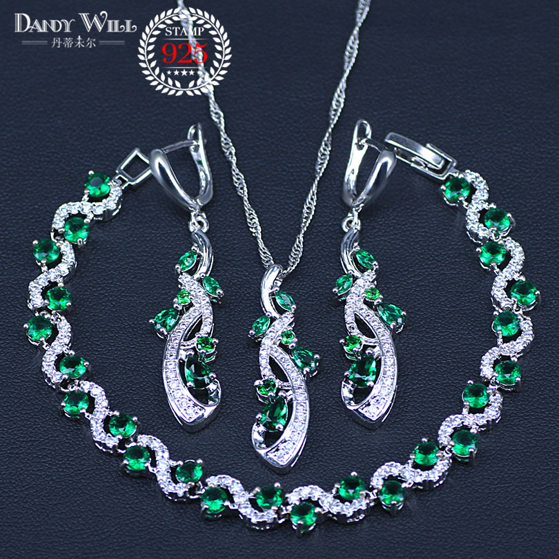 Green Blue Cubic Zirconia 925 Silver Jewelry Sets For Women Necklace Pendant Earrings Bracelet Free Gift Box
