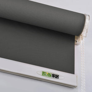 Grey Blackout Roller Blinds Curtain Drill System Office Kitchen Bed Room Solid Full Shade Thick Window Blinds Customized Size