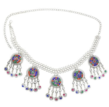 Gypsy Afghan Silver Coins Tassel Necklace Jhumka Earrings Bracelets Waist Belly Dance Chains Sets Boho Turkish Indian Jewelry