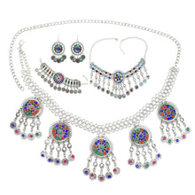 Load image into Gallery viewer, Gypsy Afghan Silver Coins Tassel Necklace Jhumka Earrings Bracelets Waist Belly Dance Chains Sets Boho Turkish Indian Jewelry