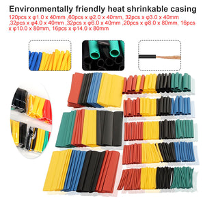 Hot 7/14/127/164/280/328pcs Assorted Polyolefin Heat Shrink Tubing Tube Cable Sleeves Wrap Wire Set 8 Size Multicolor/Black
