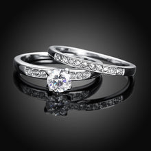Load image into Gallery viewer, Swarovski Elements Duo Classical 14K White Gold Ring