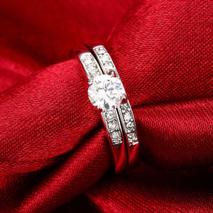 Swarovski Elements Duo Classical 14K White Gold Ring