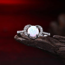 Load image into Gallery viewer, Heart Shaped White Opal Pav'e Ring in 18K White Gold