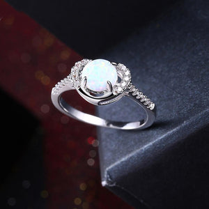 Heart Shaped White Opal Pav'e Ring in 18K White Gold
