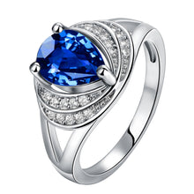 Load image into Gallery viewer, Blue Swarovski Duo Halo Cocktail Ring in 18K White Gold