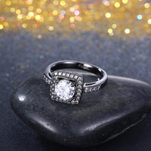 Load image into Gallery viewer, Swarovski Pav'e Halo Shaped Ring in Black Gun Plating