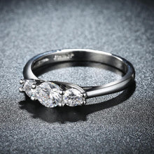 Load image into Gallery viewer, Three Stone Swarovski Elements Ring in 18K White Gold