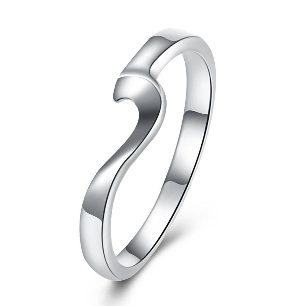 18K White Gold Plated  Curved Abstract Ring