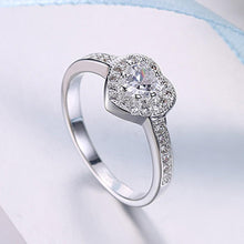 Load image into Gallery viewer, Swarovski Elements Heart Shaped Pave' Ring in 18K White Gold